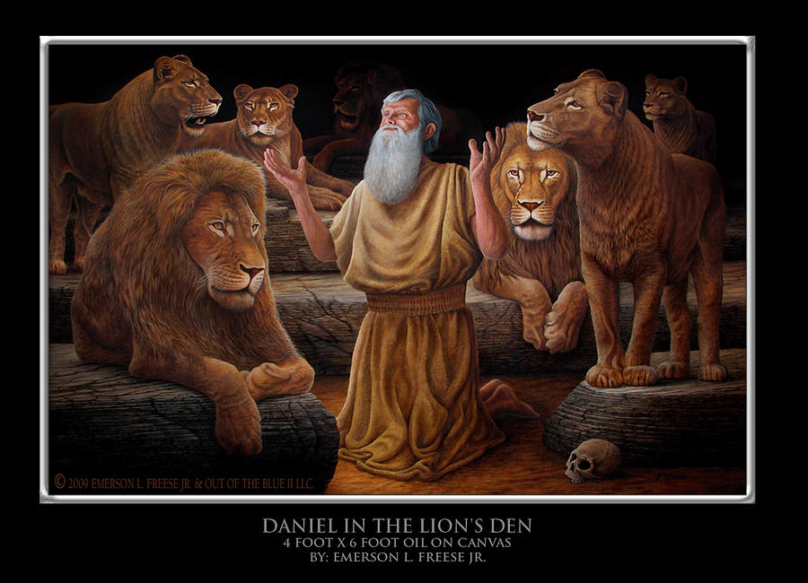 daniel in the lions den painting daniel in the lions den by emerson l freese