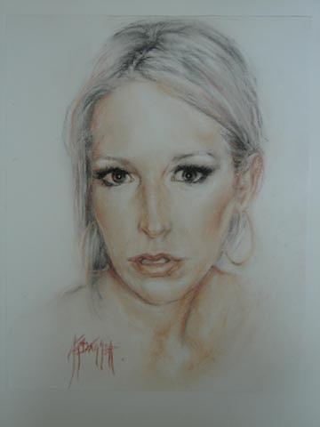 Portrait Drawing - Danielle by Angela Baggett