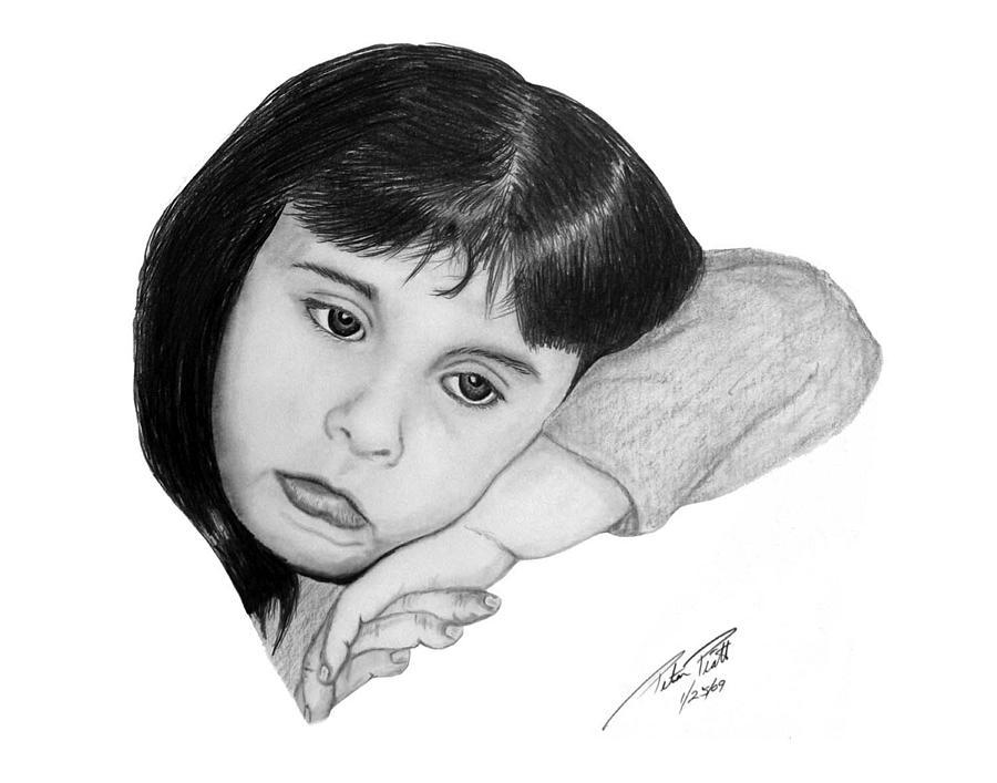 Sad Face Drawing - Dannie by Peter Piatt