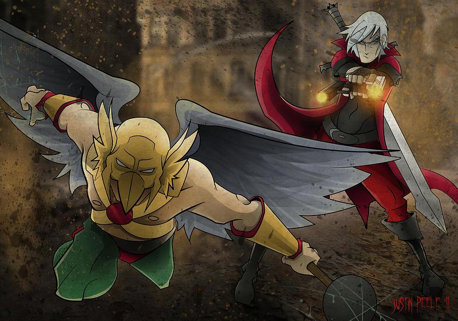 Dante Digital Art - Dante Vs. Hawkman by Justin Peele