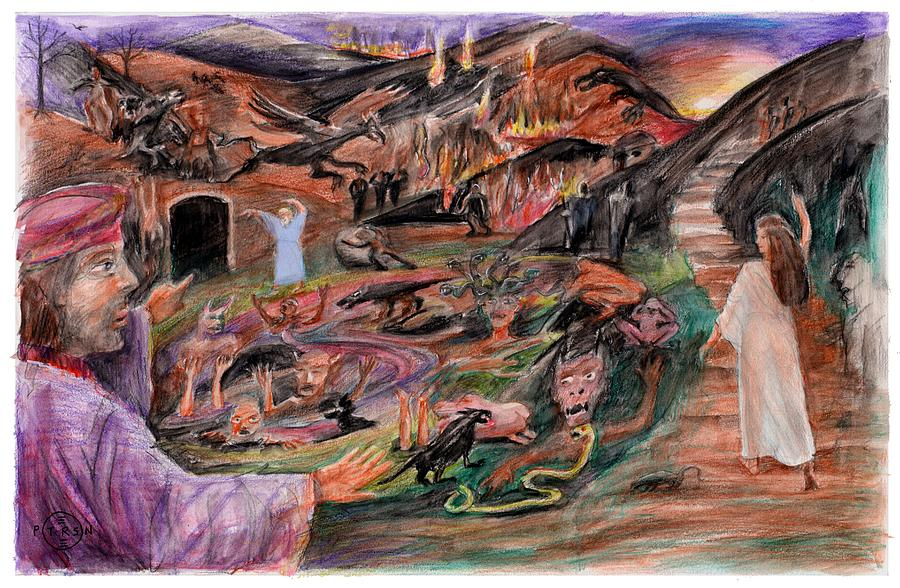 Divine Comedy Drawing - Dantes Inferno by Gary Peterson