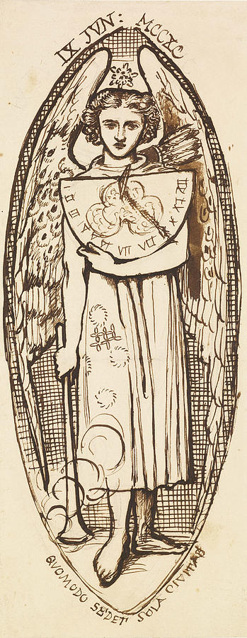 Dante Gabriel Rossetti Drawing - Dantis Amor -  Study Of Love With A Sundial And Torch  by Dante Gabriel Rossetti