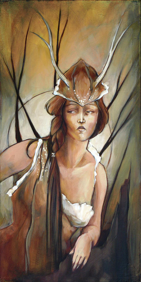 Deer Painting - Daphne by Jacque Hudson