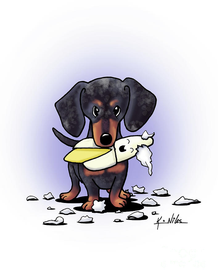 Doxie Painting - Dapple Doxie Destroyer by Kim Niles