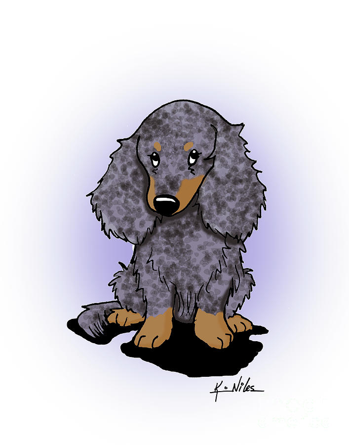 Longhaired Drawing - Dapple Doxie by Kim Niles