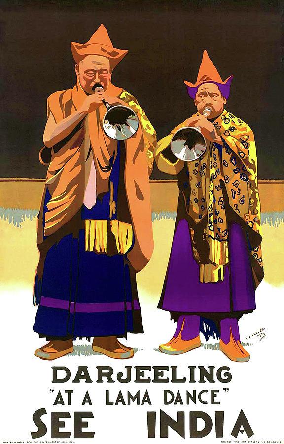 Darjeeling Painting - Darjeeling, Lama Dance Musicians, India by Long Shot