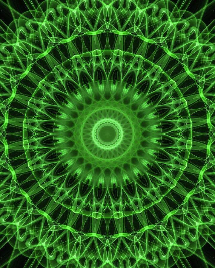 Mandala Digital Art - Dark And Light Green Mandala by Jaroslaw Blaminsky
