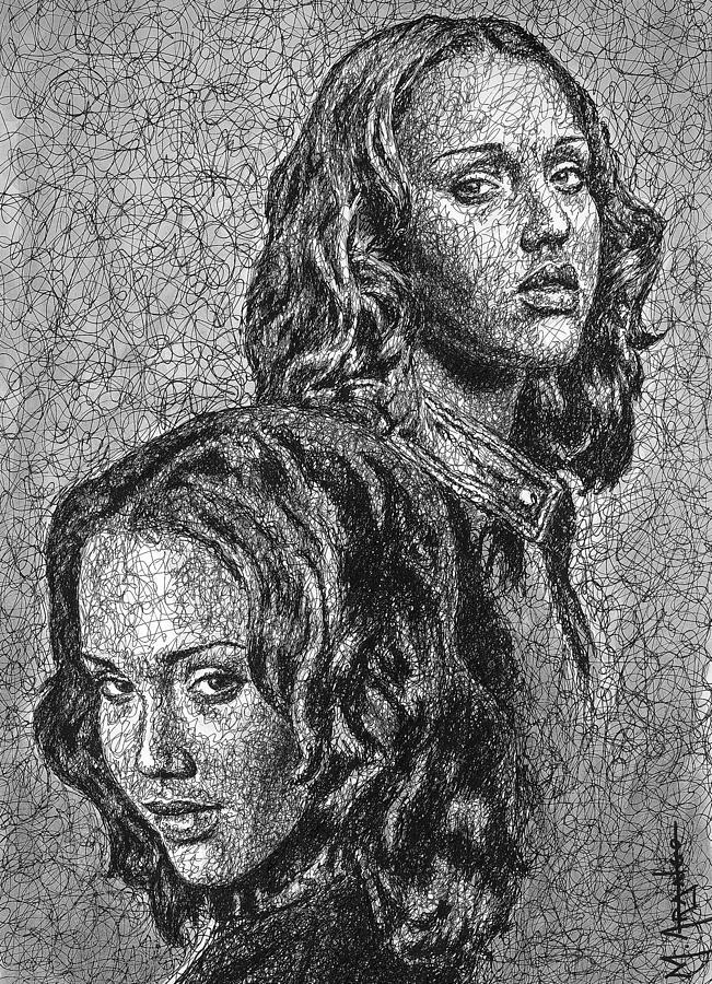 Dark Angel Drawing - Dark Angel by Maria Arango