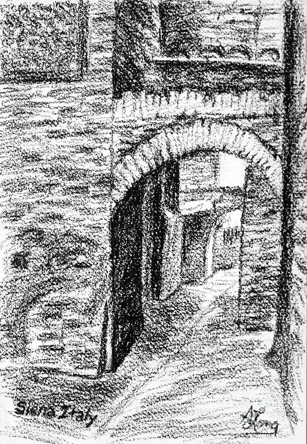 Dark Back Street in Siena Italy conte drawing by Adam Long