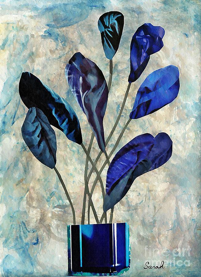 Floral Mixed Media - Dark Blue by Sarah Loft
