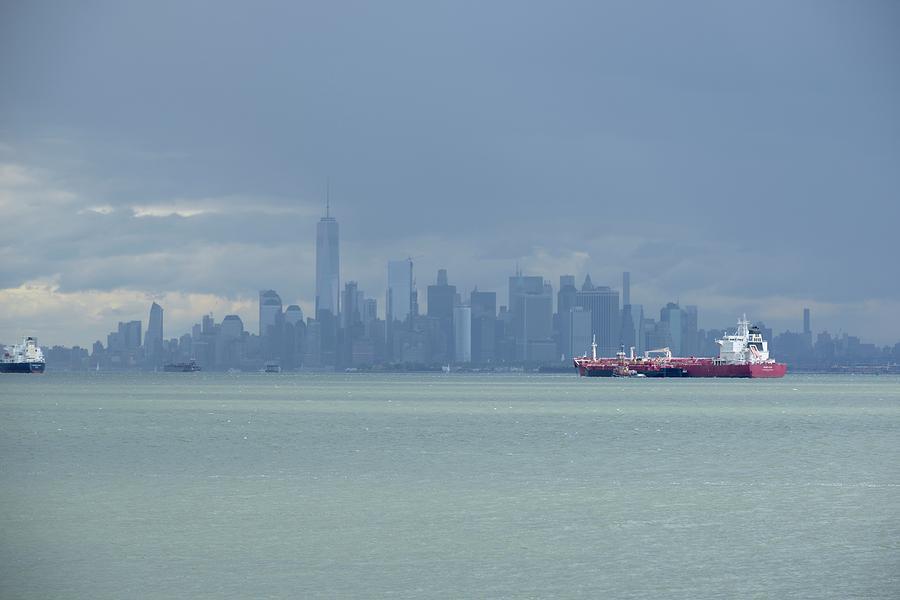 Skyline New York Photograph - Dark Clouds Over New York City  by Merijn Van der Vliet