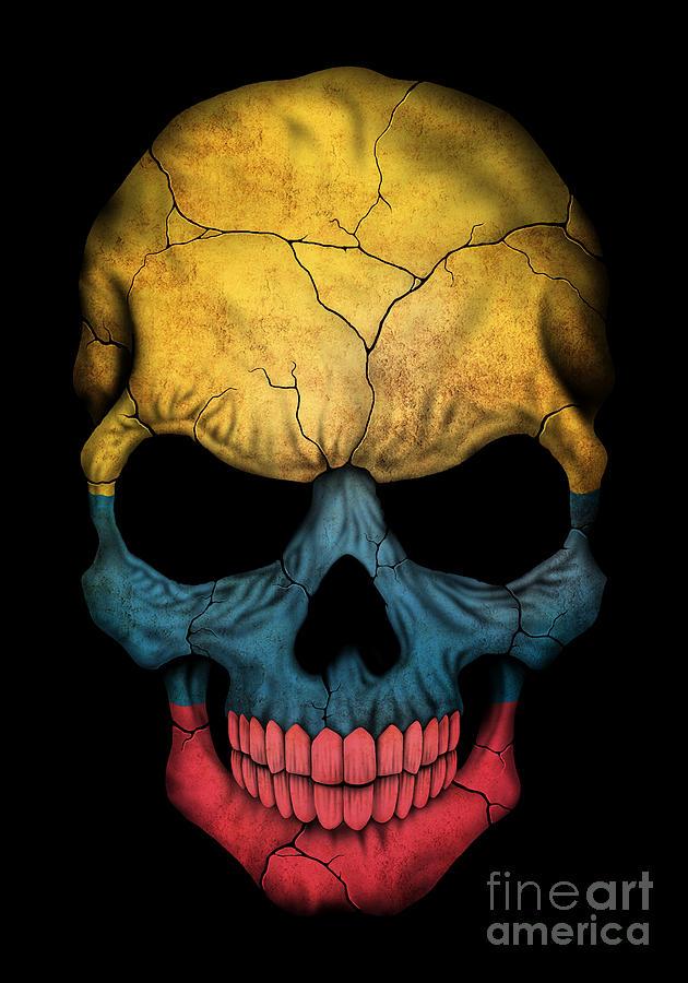 dark colombian flag skull digital art by jeff bartels