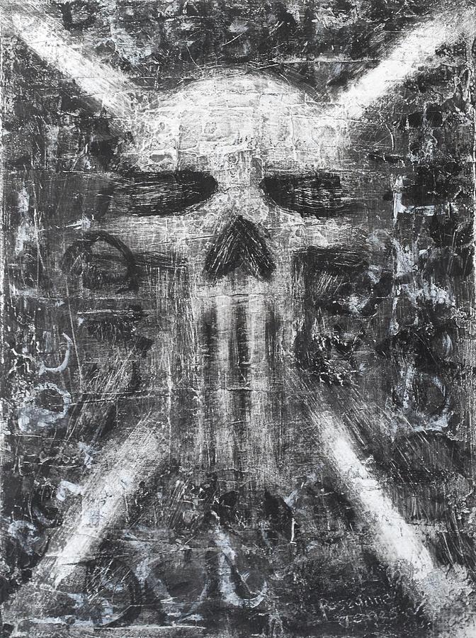 Skull Painting - Dark Departure by Roseanne Jones