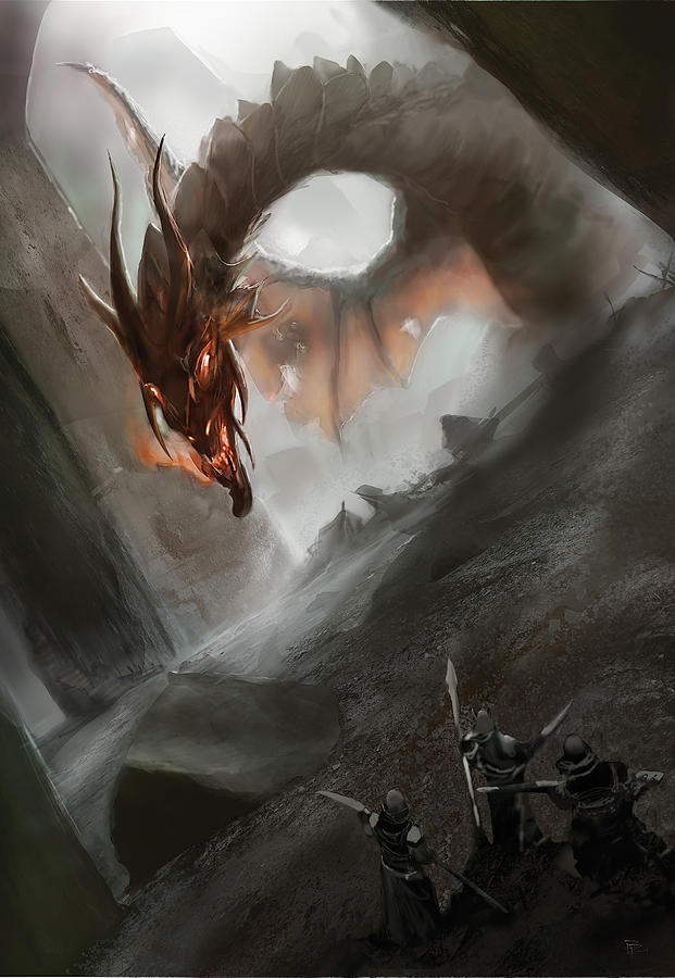 Dragon Painting - Dark Dragon by Anthony Christou