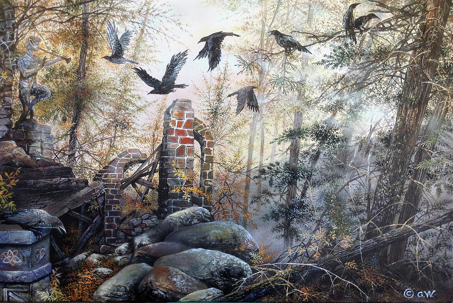 Gothic Landscape Painting - Dark Fear Rising by Gary Woodfield