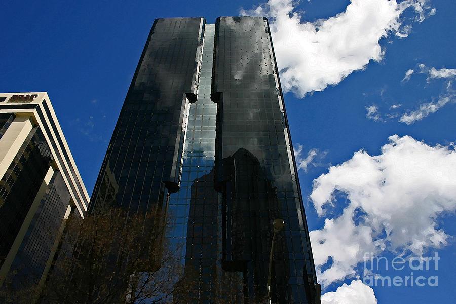 Black Photograph - Dark Glossy Building by Beebe Barksdale-Bruner
