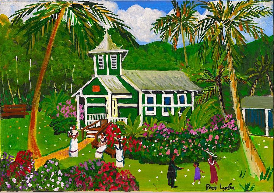 Church Painting - Dark Green Church by Lydia Matias