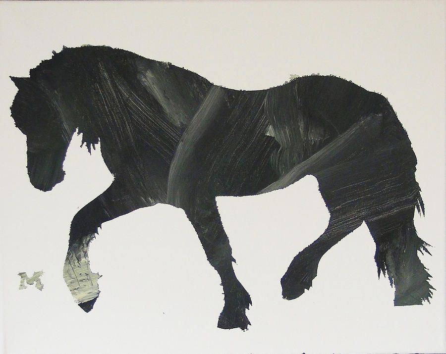 Horse Painting - Dark Horse Coming by Candace Shrope