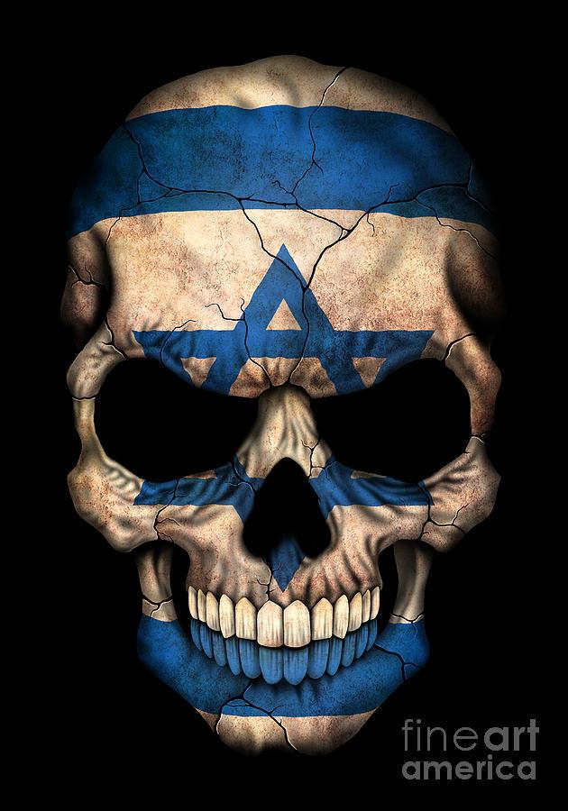dark israeli flag skull digital art by jeff bartels