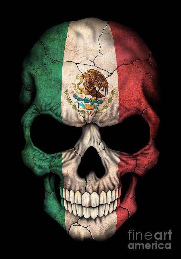 Dark Mexican Flag Skull Digital Art By Jeff Bartels
