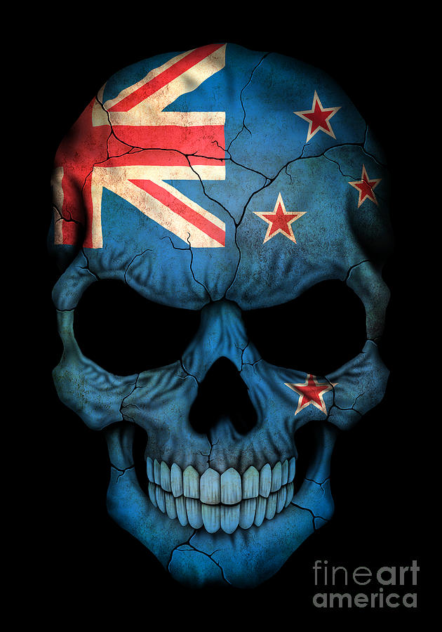 dark new zealand flag skull digital art by jeff bartels
