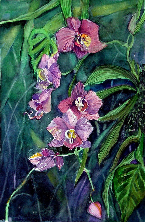 Orchid Painting - Dark Orchid by Mindy Newman