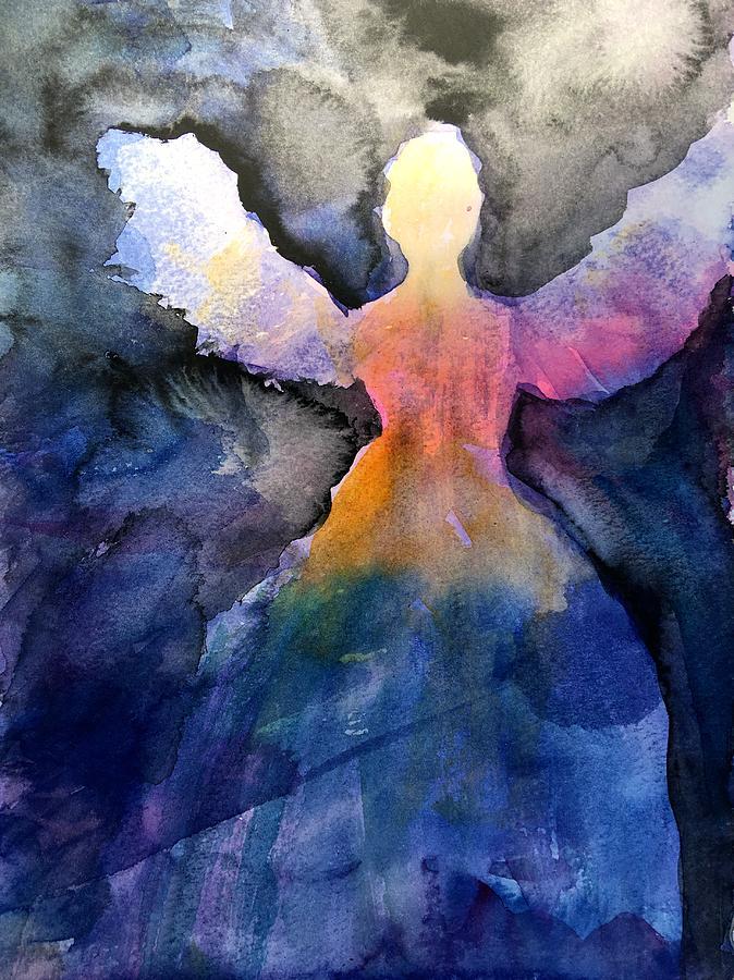 Angel Painting - Dark Skies Angel by Jeanne MCBRAYER