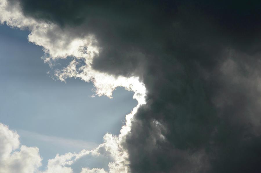 Grey Storm Cloud Hand Printed Tote
