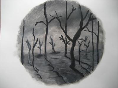 Tree Mixed Media - Dark Tree by Virginia Patrick