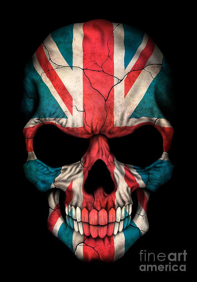 Dark Union Jack British Flag Skull Digital Art By Jeff Bartels