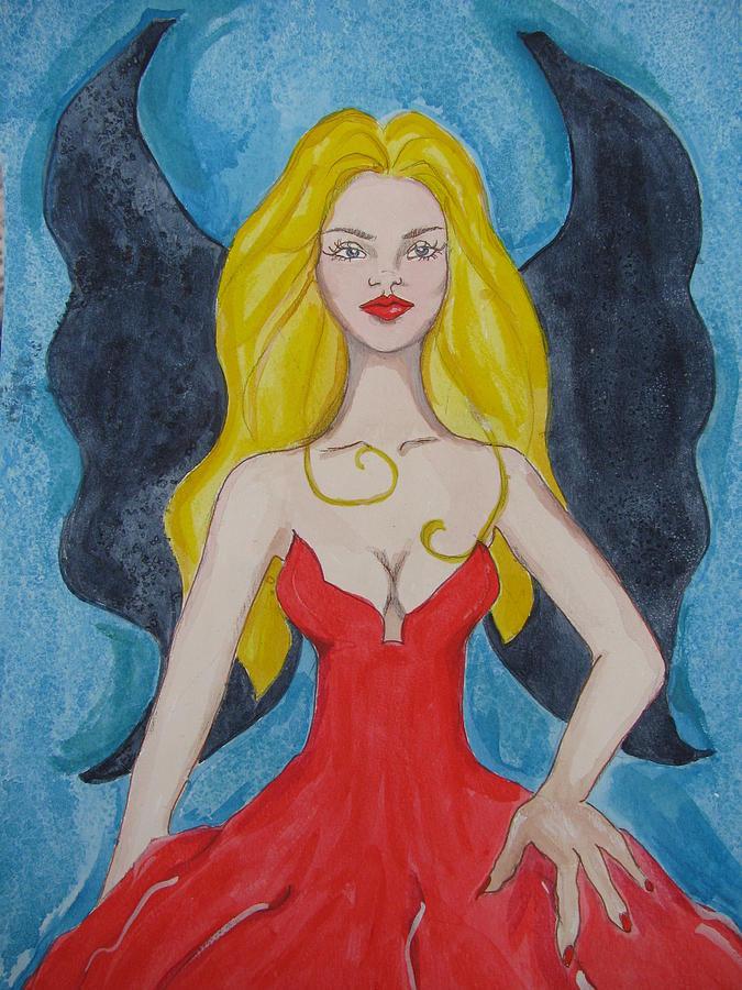 Red Dress Painting - Dark Wings II by Lindie Racz