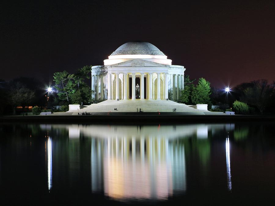 Landscape Photograph - Darkness over the Jefferson Memorial by M C Hood