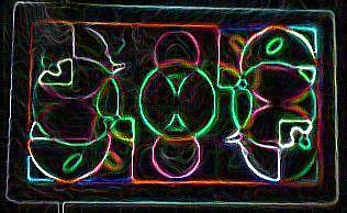 Darnilliouscope Lvndr Grn Neon Painting by Darnillious Designs