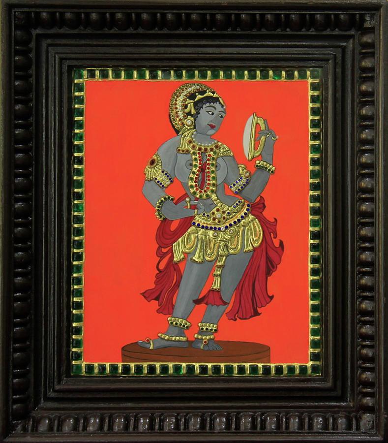 Tanjore Painting - Darpana Sundari by Sarandha D L
