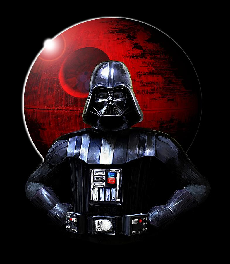 Darth Vader Digital Art - Darth Vader And Death Star by Michael Greenaway