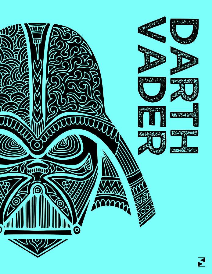 Darth Vader - Star Wars Art - Blue Mixed Media