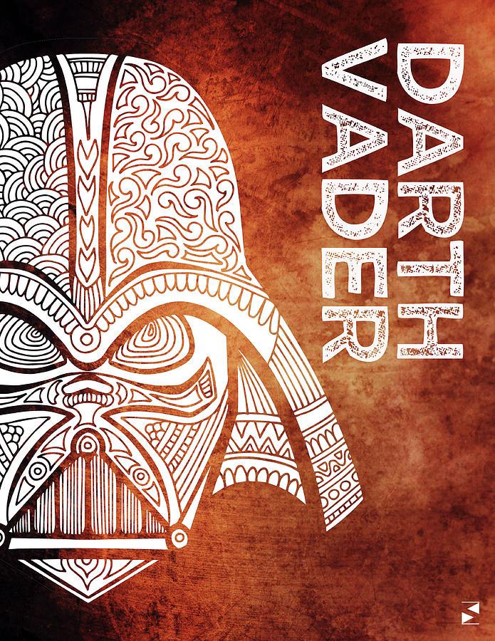 Darth Vader - Star Wars Art - Brown And White Mixed Media