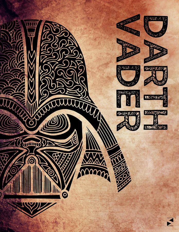 Darth Vader - Star Wars Art - Brown Mixed Media