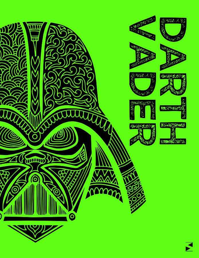 Darth Vader - Star Wars Art - Green Mixed Media