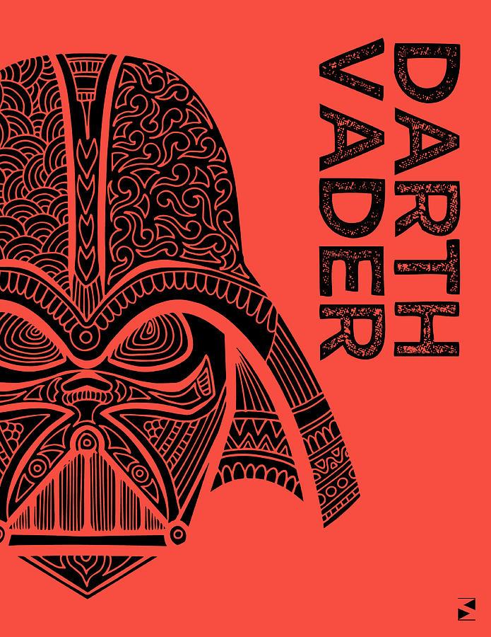 Darth Vader - Star Wars Art - Red Mixed Media