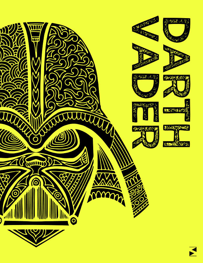Darth Vader - Star Wars Art - Yellow Mixed Media