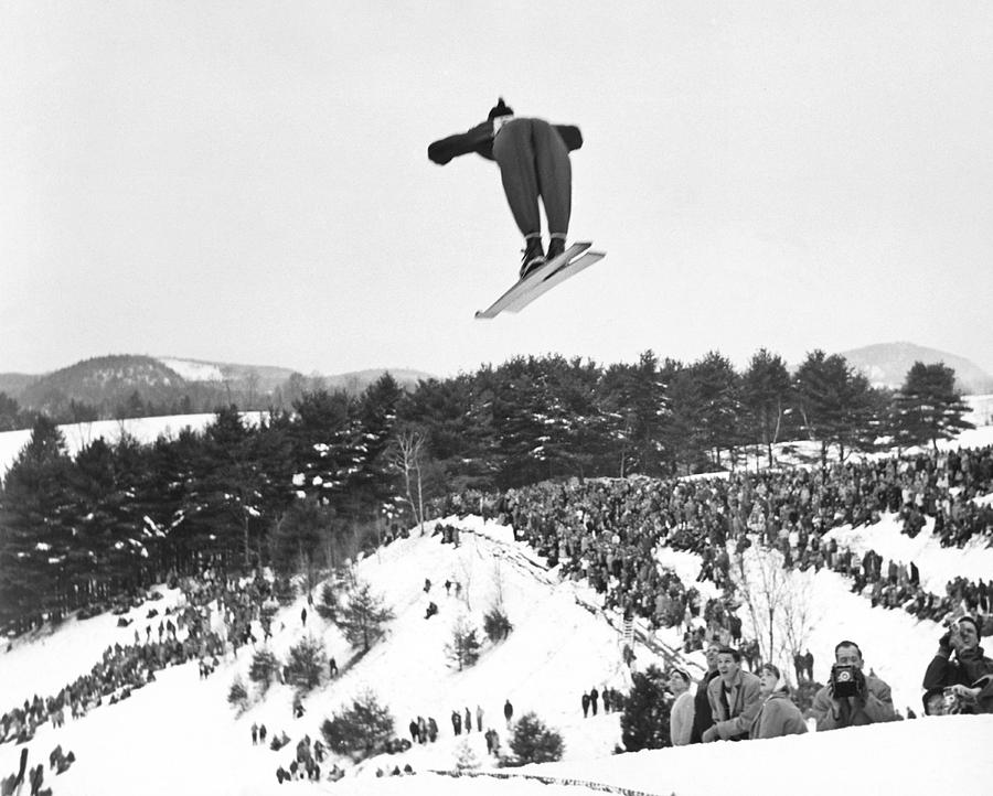 1950's Photograph - Dartmouth Carnival Ski Jumper by Underwood Archives