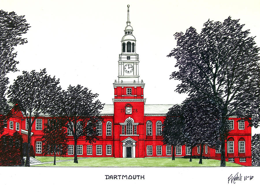 Historic Buildings Drawings Drawing - Dartmouth by Frederic Kohli