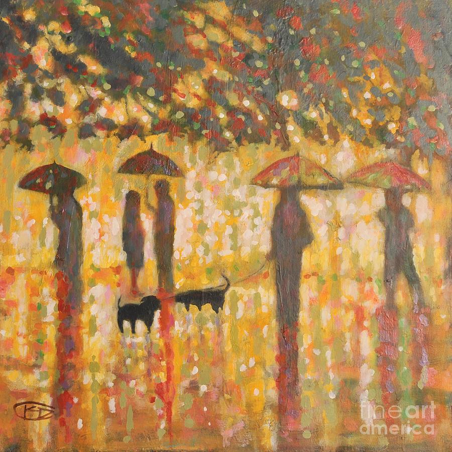 Daschunds Painting - Daschunds In The Rain by Kip Decker