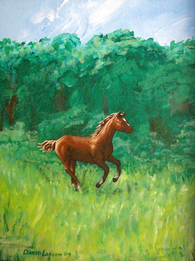 Pony Painting - Dashing Colt by David  Larcom