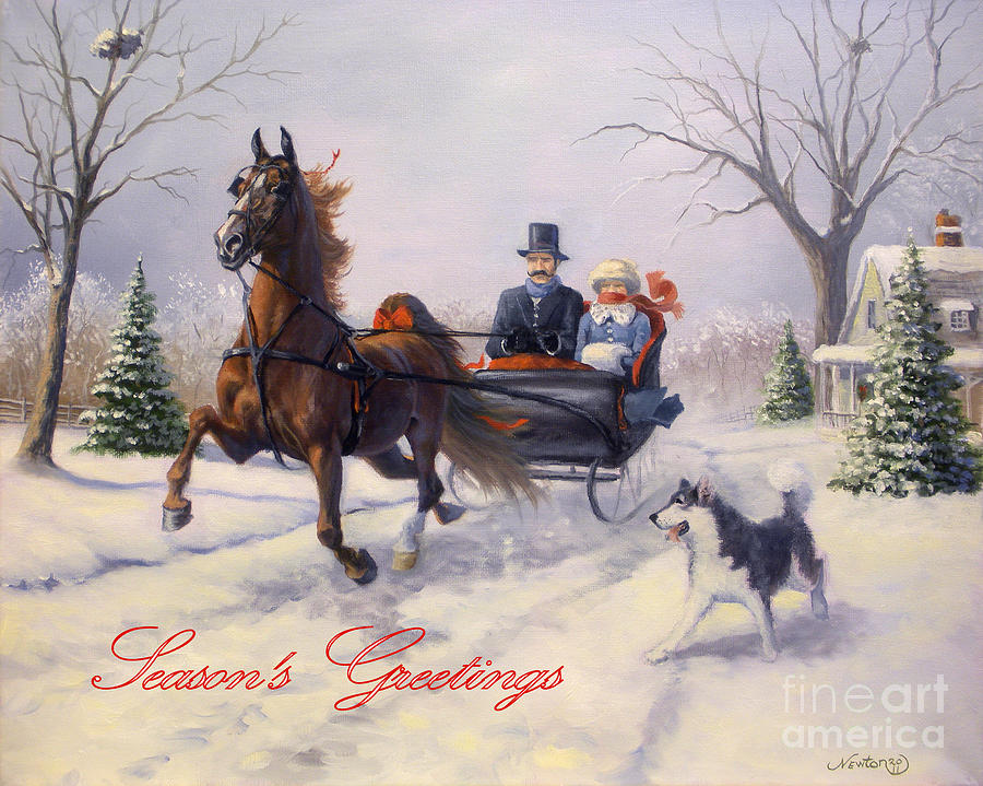 Equine Christmas Cards Painting - Dashing Through The Snow by Jeanne Newton Schoborg