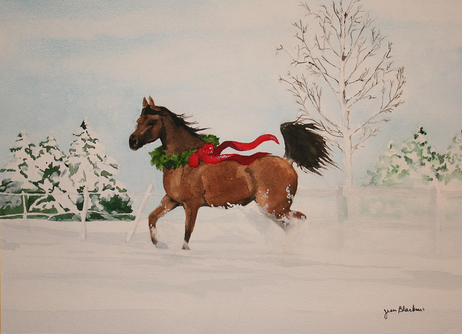 Horse Painting - Dashing Thru The Snow by Jean Blackmer