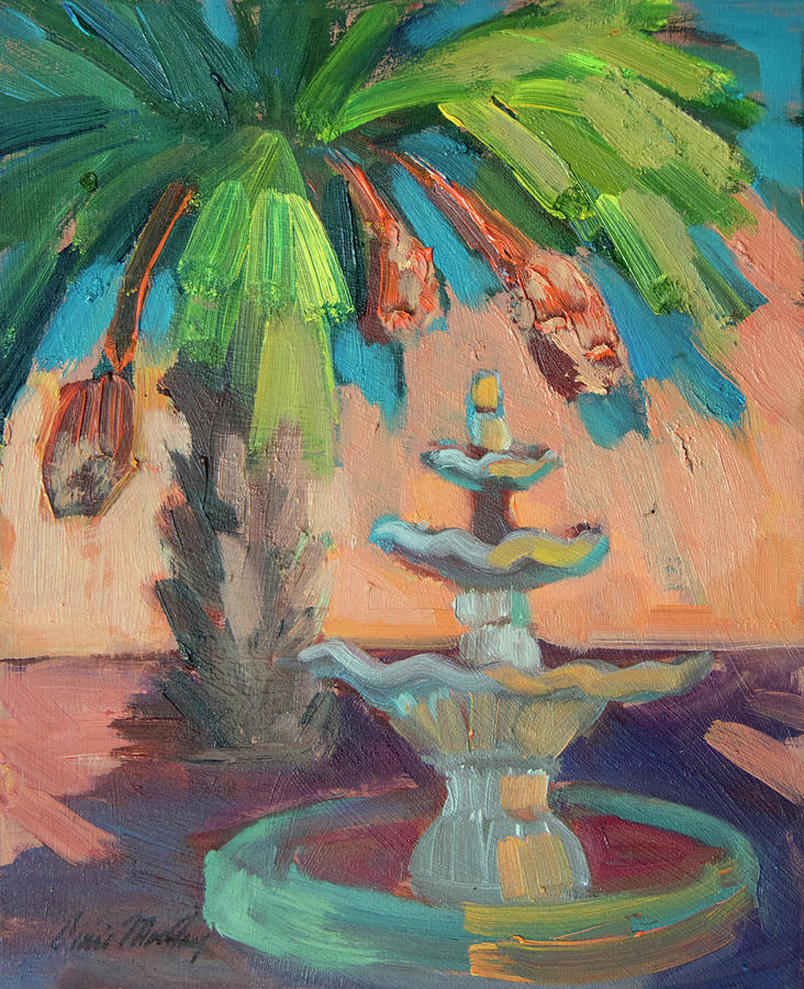 date Palm and Fountain by Diane McClary