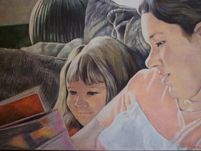 Daughter Painting - Daughter And Mother Reading by Carrie Williamson