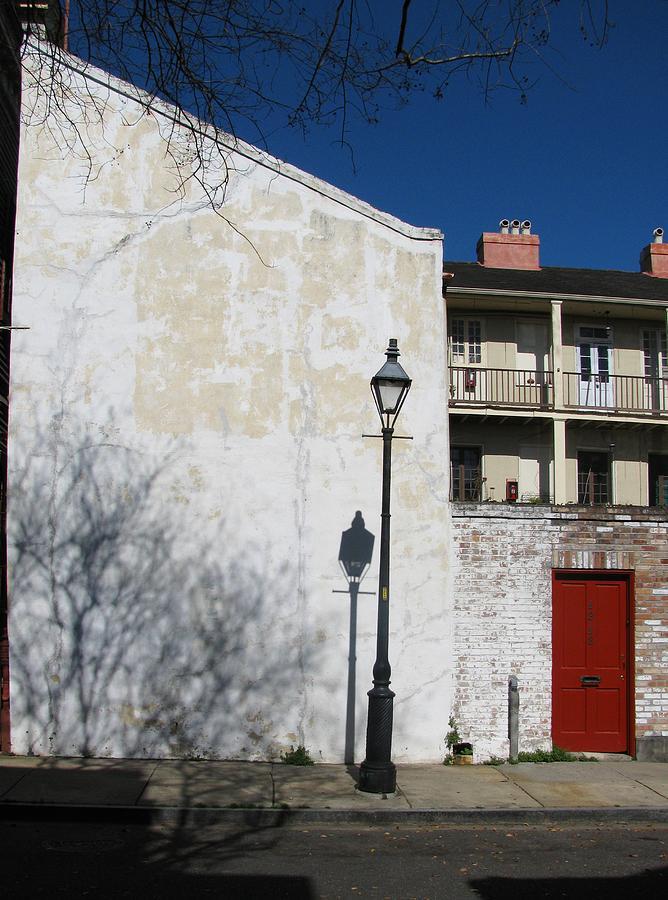 Lamppost Photograph - Dauphine Red Door by Tom Hefko